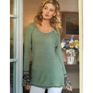 Soft Surroundings Misty Point Waffle Knit Top